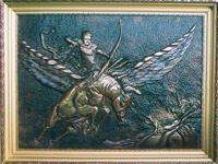 ХУДОЖЕСТВЕННАЯ ЧЕКАНКА - панно «Борьба Хрисаора и Пегаса против Химеры»